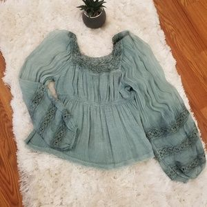 FP Balloon Sleeve Embroidered Babydoll Blouse